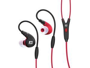 MEE audio M7P Secure-Fit Sports In-Ear Headphones with Mic, Remote, and Universal Volume Control (Red)