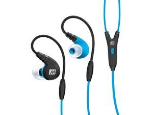 MEE audio M7P Secure-Fit Sports In-Ear Headphones with Mic, Remote, and Universal Volume Control (Blue)