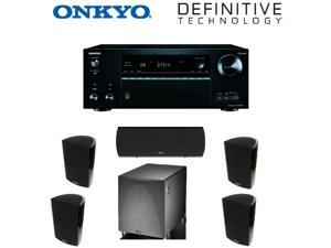 Onkyo TX-NR757 7.2-Channel Network A/V Receiver + 2 Pairs of  Definitive ProMonitor 1000 Bookshelf (Single Black) + Definitive ProCenter 1000 Compact Center + Definitive ProSub 1000  Bundle