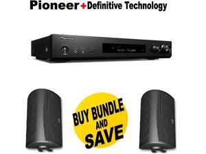 Pioneer Slim Audio & Video Component Receiver,Black (VSX-S520) + Pair of  Definitive Technology AW 6500B Outdoor Speaker (Single, Black) Bundle