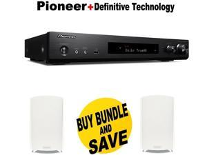 Pioneer Slim Audio & Video Component Receiver,Black (VSX-S520) + Pair of  Definitive Technology ProMonitor 800 Bookshelf Speaker (Single, White) Bundle