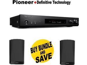 Pioneer Slim Audio & Video Component Receiver,Black (VSX-S520) + Pair of  Definitive Technology SM55 Bookshelf Speaker - Black Bundle