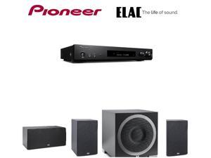 Pioneer Slim Receiver,Black (VSXS520) + ELAC B5 Debut  Bookshelf s  (Pair) + ELAC C5 Debut  Center + ELAC S10EQ Debut Series 400 Watt Powered Subwoofer with AutoEQ Bundle