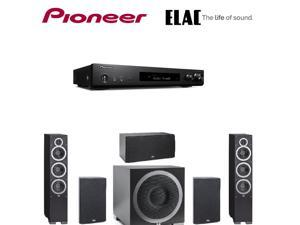 "Pioneer Slim Receiver,Black (VSXS520) + ELAC B6 Debut Series 6.5"" Bookshelf s  (Pair) + ELAC C5 Debut  Center + ELAC S10EQ Debut Series Powered Subwoofer with AutoEQ + ELAC Debut F6 Tower Bundle"