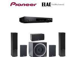Pioneer Slim Receiver,Black (VSXS520) + ELAC B5 Debut  Bookshelf s  (Pair) + ELAC C5 Debut  Center + ELAC S10EQ Debut Series 400 Watt Powered Subwoofer with AutoEQ + ELAC  Debut F6 Tower  Bundle