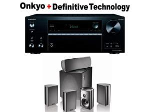 Onkyo Powerful Audio & Video Component Receiver Black (TX-NR676) + Definitive Technology ProCinema 600 5.1 Home Theater Speaker System Bundle