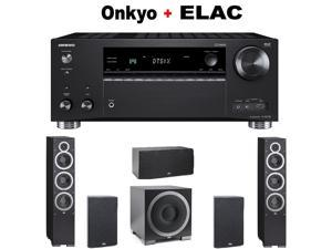 "Onkyo Rz Series Audio & Video Component Receiver Black (TX-RZ720) + ELAC B6 6.5"" Bookshelf + Pair of  ELAC - Debut F6 Tower + ELAC C5 "" Center Speaker + ELAC S10EQ Powered Subwoofer Bundle"