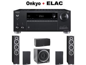 "Onkyo Rz Series Audio & Video Component Receiver Black (TX-RZ620) + ELAC B6 6.5"" Bookshelf + Pair of  ELAC - Debut F6 Tower + ELAC C5 "" Center Speaker + ELAC S10EQ Powered Subwoofer Bundle"