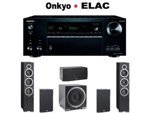 "Onkyo THX-Certified Audio & Video Component Receiver black (TX-NR777) + ELAC B6 6.5"" Bookshelf + Pair of  ELAC - Debut F6 Tower + ELAC C5 "" Center Speaker + ELAC S10EQ Powered Subwoofer Bundle"