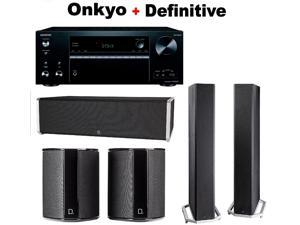 Onkyo Powerful Audio & Video Component Receiver Black (TX-NR676) + Pair of  Definitive Technology BP9060 + Pair of  Definitive Technology SR9040 Bundle