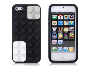 Building Block Style Silicone Case for iPhone 5/5s (Black)