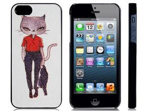 Cat with Uniform Skinning Plastic Case for iPhone 5/5s