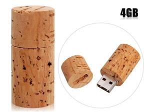 4 GB Round Wood USB Flash Drive (Beige)