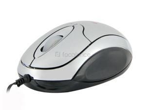 deiog Retractable USB Wired Optical Mouse (Silver)