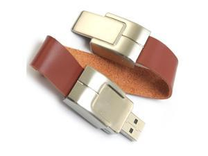16GB Bracelet Leather USB Flash Drive Brown