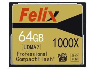 Felix Professional 64GB 1000X High Speed UDMA7 CompactFlash CF Memory Card