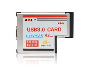 Express Card ExpressCard 54mm to USB 3.0 2 Dual Port Adapter 5Gbps for Laptop