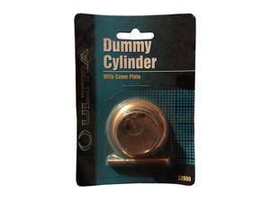 "Ultra Hardware 22000 Brass Plated Finish Dummy Rim Cylinder With Cover Plate 1-7/8"" Outside Diameter"
