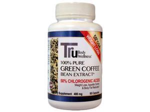 Tru Pure Green Coffee Beans with 50% Chlorogenic Acid 400mg, 60 Count