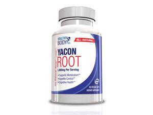 Healthy Body Yacon Root 1000 Mg. Per Serving All Natural Metabolism Game-changer 60 Ct. Capsules, One Month Supply