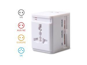 MOCREO Universal World Wide All-in-one Safety Travel Charger Wall Charger Adapter Plug Built-in Dual USB Ports