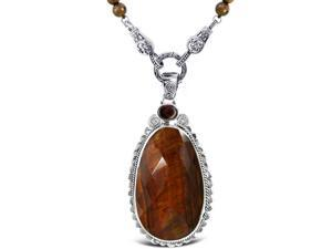 Sterling Silver .925 Pendant with Red Tiger Eye with Garnet