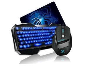 Promotion-AULA Blue LED Backlight Multimedia USB Gaming Keyboard + 2000 DPI Ergonomic Gaming Mouse + Mouse Pad Set - OEM
