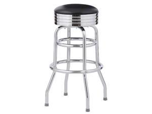 2 Bar Stools, Black Classic 1950's Diner, Double Ring Assembled