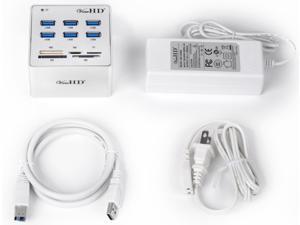 USB 3.0 6 Port Hub + Card Reader + 12V4A Power Adapter Full Metal Case S