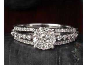 0.68ct DIAMOND Solitaire/Side Solid 14K WHITE GOLD ENGAGEMENT WEDDING RING