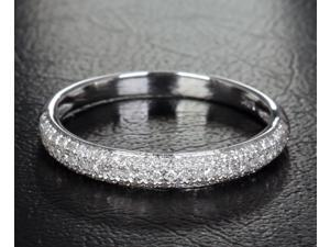 14k White Gold Natural .39ctw Diamonds Wedding Eternity Band Anniversary Ring