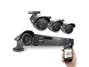 SANNCE 8CH P2P Surveillance Camera System with 4 High Resolution 800TVL Day/Night Vision Cameras Smartphone Remote Monitoring/Viewing ...