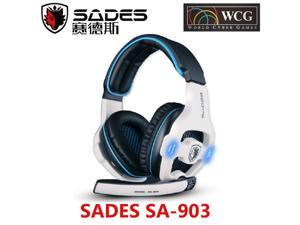 Original SADES SA-903 WHITE Game Headset Studio Gaming Headphone With Microphone Game Earphone With Mic