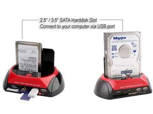 "Portable 879U2C SATA HDD Docking Station 3.5"" / 2.5"" HDD Dock Case 2 ports USB HUB CF SD MS XD Card Reader Backup"