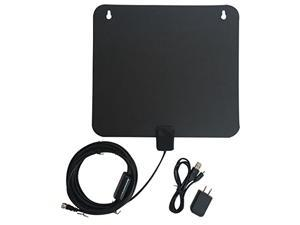 HDTV Antenna 50 Mile Range - Digital Satellite TV Receiver With Detachable Amplifier Power Supply for the Highest Amplified Performance 15-25 DB Antenna, 10ft Coax Cable and USB