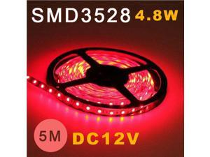 5M 3528 SMD 60 Flexible Fairy LED Strip Lighting Tape Roll 12V Red