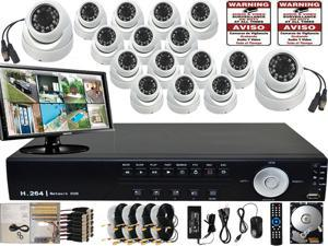 EVERTECH 16 Channel High Resolution Audio Video Recorder DVR Business Office Security Camera System WeatherProof Day & Night ...