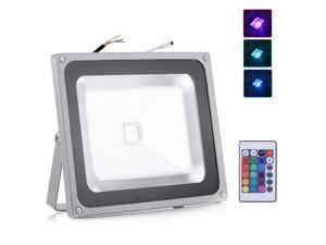 50W RGB Led Flood Light Outdoor Landscape Lamp with 24key IR Remote AC 85-265V