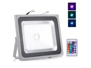 AC 85-265V RGB LED Flood Light Outdoor Landscape Lamp with 24key IR Remote