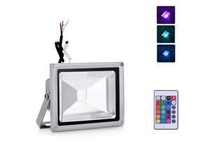 AC 85-265V RGB LED Flood Light Outdoor Landscape Lamp with 24key IR Remote