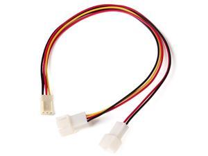 12V Fan Power Extension Cable 3 Pin female Splitter to 2 female Adapter Wire