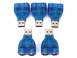 5 X ABS PS2 Keyboard to USB 2.0 Interface Coverter Adapter Blue