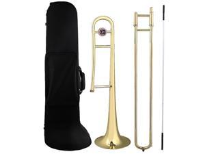 BQLZR Golden Brass B Flat Bb Alto Trombone with Cleaning Rod & Carrying Case