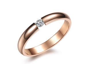 Opk Jewelry Elegant Women's Rings Inlaid 2.5mm Shiny CZ Rhinestone Rose Gold Plated Titanium Steel Finger Band Wedding Engagement ...