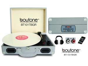 Boytone BT-101TBGR Mobile Suitcase Turntable, Green