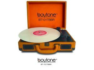 Boytone BT-101TBBR Mobile Suitcase Turntable, Brown