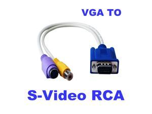 New 15-Pin Sub-D VGA SVGA to TV RCA S-Video S Video Cable Adapter Converter