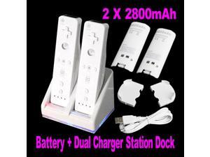 Double Dual Remote Charger Dock Sation 2 Battery For Nintendo Wii Remote