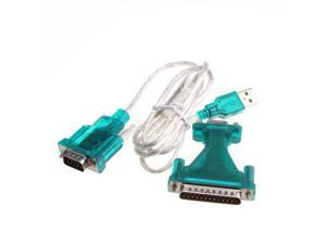 New USB 2.0 To RS232 Com Port 9 PIN SERIAL DB25 DB9 Adapter Cable Converter
