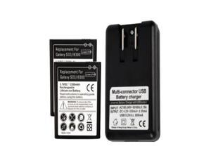 NEW 2 x 2300mAh Battery + USB Charger for SamSung Galaxy S 3 III i535 T999 L710 i9300